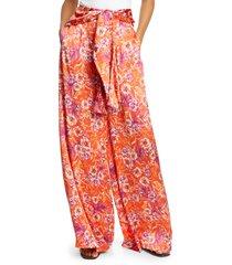 women's amur geneva floral silk wide leg pants