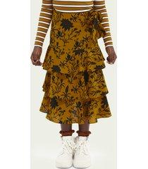 scotch & soda maxi printed ruffle skirt