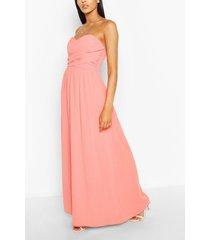 chiffon bandeau maxi bridesmaid dress, coral