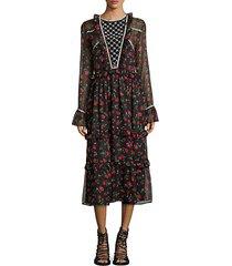 roberta rose-print bell-sleeve dress