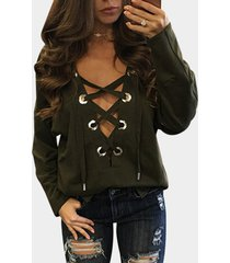 amry green sexy pattern v-neck lace-up front top