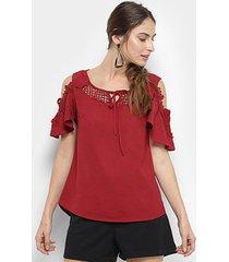 blusa top moda guipir e pérola feminina
