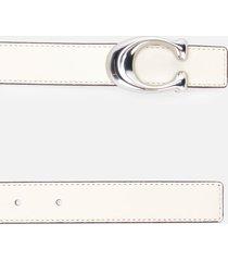 coach women's 25mm sculpted c reversible belt - natural chalk - l