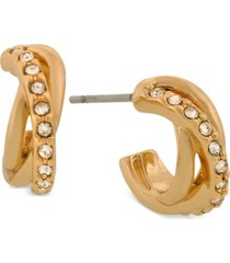 laundry by shelli segal gold-tone pave huggie small hoop earrings s