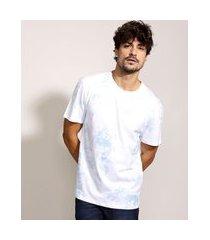 camiseta masculina estampada de caveiras floral manga curta gola careca branca