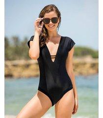 vestido de baño entero de mangas cortas y escote profundo - vestido de baño 1pz negro leonisa