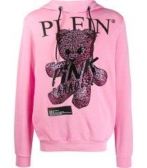 philipp plein pink paradise crystal teddy bear hoodie