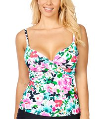 island escape honey bloom gemini printed underwire tankini, created for macy's women's swimsuit