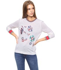 sweater blanco tommy hilfiger jira embroidered swtr