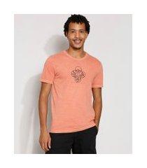 camiseta masculina manga curta 4 elementos gola careca laranja