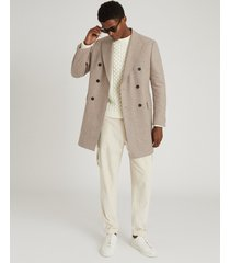 reiss lewis - wool blend double breasted overcoat in oatmeal, mens, size xxl