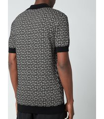 balmain men's knitted monogram polo shirt - ivory/black - xl