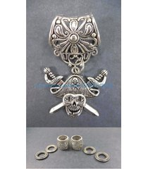 us seller-pirate skull pendant slider scarf ring scarf jewelry to make