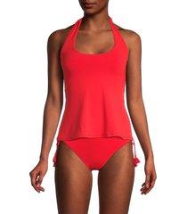 robin piccone women's gigi apron tankini top - fiery red - size xs
