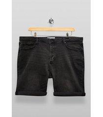 mens big washed black denim shorts