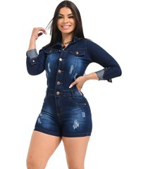 macaquinho jeans curto macacão short - ewf jeans - manga longa - azul escuro