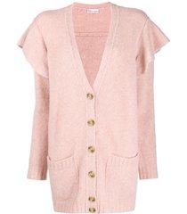 redvalentino ruffled buttoned cardigan - pink