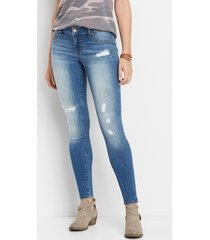 maurices womens denimflex™ medium wash low rise destructed jegging blue