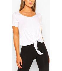 fit woman basic baggy jersey t-shirt met ceintuur, wit