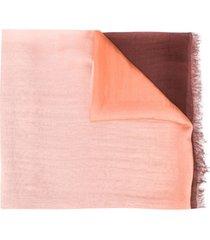 faliero sarti lenço de seda com detalhes desfiados - rosa