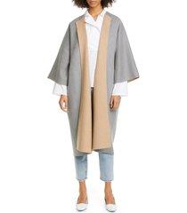 women's sofie d'hoore open front double face wool coat, size 2 us - grey