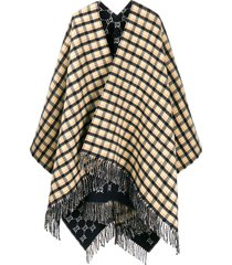 gucci check print fringed poncho - blue