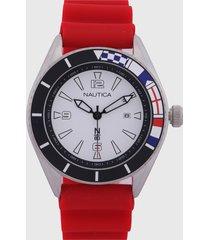 reloj rojo-blanco-plateado nautica