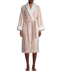 saks fifth avenue women's faux fur-trim chevron-print robe - ivory pink - size l