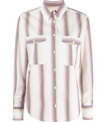 isabel marant étoile vertical-stripe long-sleeve shirt - white