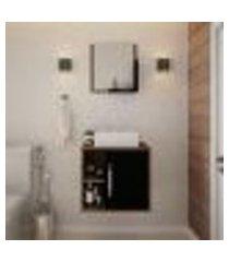 conjunto para banheiro gabinete com cuba q32 e espelheira soft 500 nogal com preto ônix