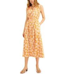 alfani printed smocked-waist midi dress, created for macy's