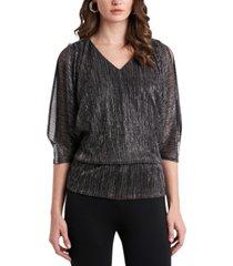 msk metallic dolman-sleeve blouse