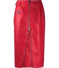 alexander mcqueen high-waisted zip-up skirt - red