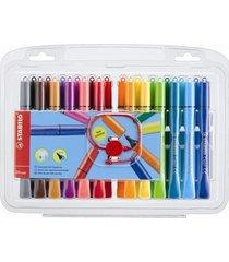 24 x stabilo cappi felt tip fibre tip pens with cap ring