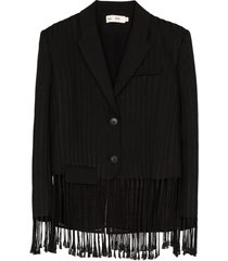 xu zhi tassel hem single-breasted blazer - black