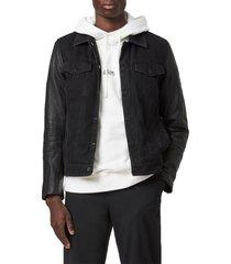 men's allsaints bennett leather jacket, size x-large - black