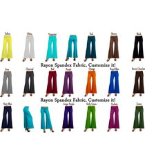 women's rayon viscose spandex solid color palazzo wide legged pants many colors