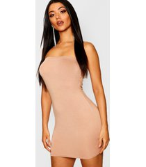 bandeau jersey bodycon dress, toffee