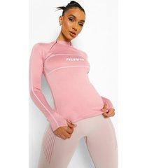 fit woman top met dubbele rits en lange mouwen, dusky pink