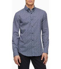 calvin klein stretch cotton geometric button-down shirt