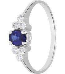 anello in oro bianco, zaffiri 0,50 ct e diamanti 0,05 ct per donna