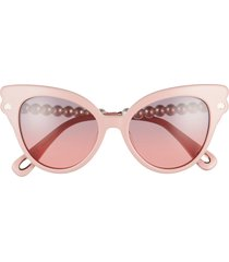 women's lele sadoughi chelsea pearl 52mm cat eye sunglasses - blush