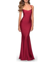 la femme lace up back jersey mermaid gown, size 14 in burgundy at nordstrom