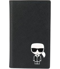 karl lagerfeld ikonik travel wallet - black