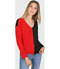sweater rojo destino collection bicolor