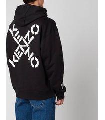 kenzo men's sport oversized hooded sweatshirt - black - xs