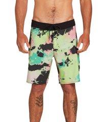 men's volcom bolinas stoney 19 board shorts, size 34 - green