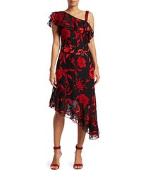 antonia asymmetric metallic floral-print midi a-line dress