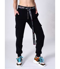 czarne spodnie bojówki chain zip black