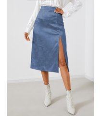 falda con dobladillo con abertura de satén jacquard